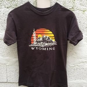"""Vintage """"Wyoming"""" brown T-shirt 1990s Small"""